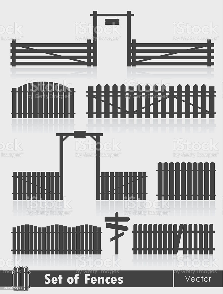 Black fences with gate isolated over grey background vector art illustration