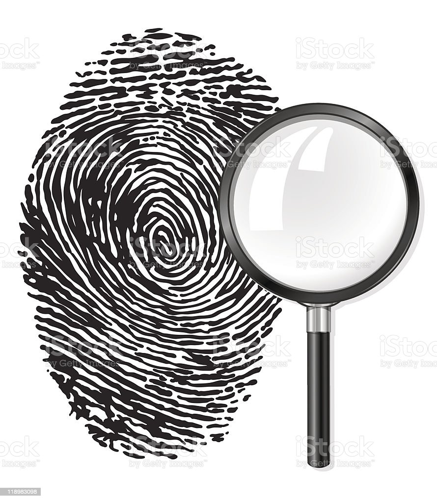 black fingerprint and magnifying glass loupe royalty-free stock vector art