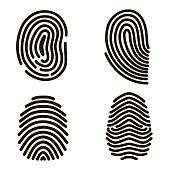 Black Fingerprints Set. Vector