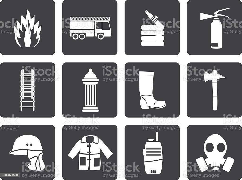 Black fire-brigade and fireman equipment icons vector art illustration