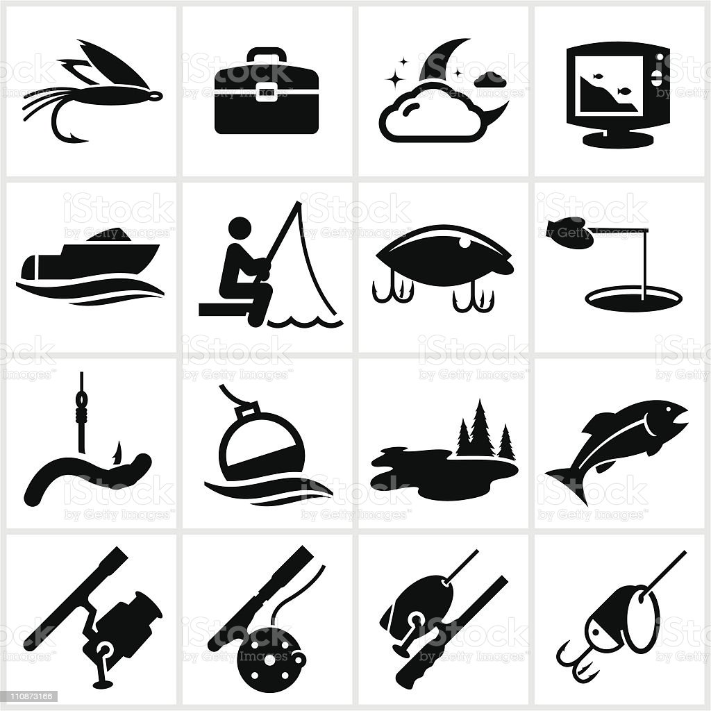 Black Fishing Icons vector art illustration