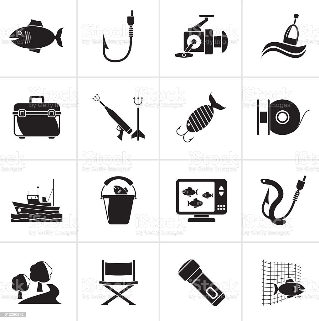 Black Fishing industry icons vector art illustration
