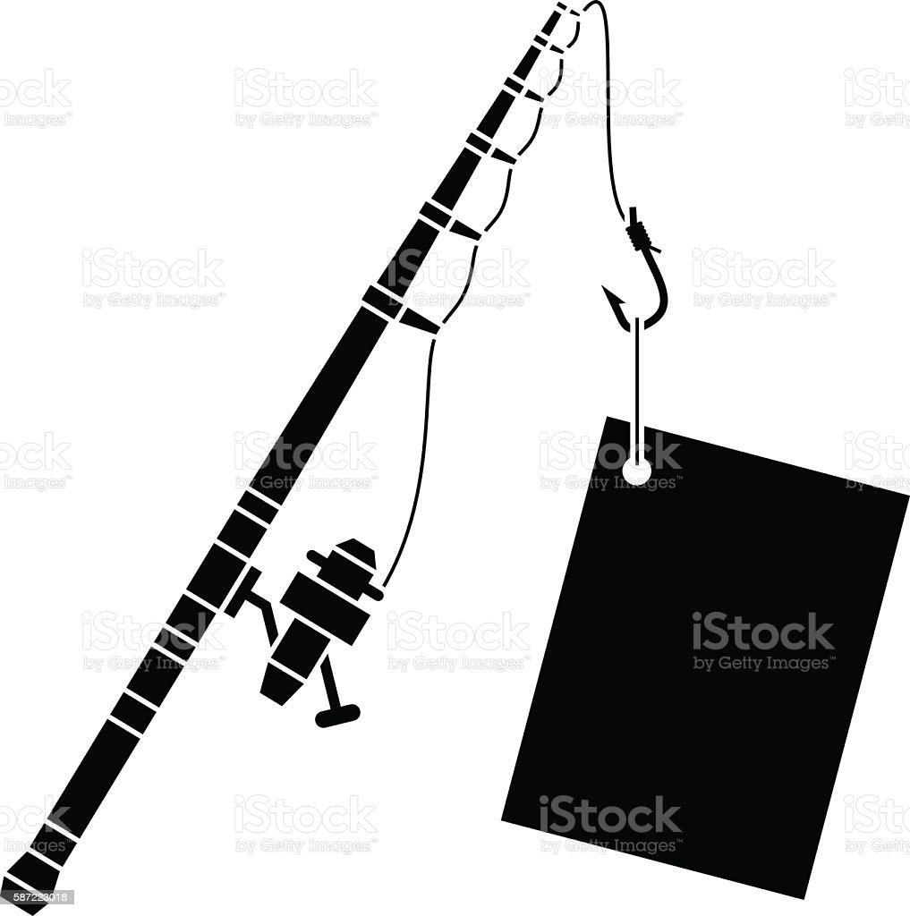 black fishing rod with label vector art illustration