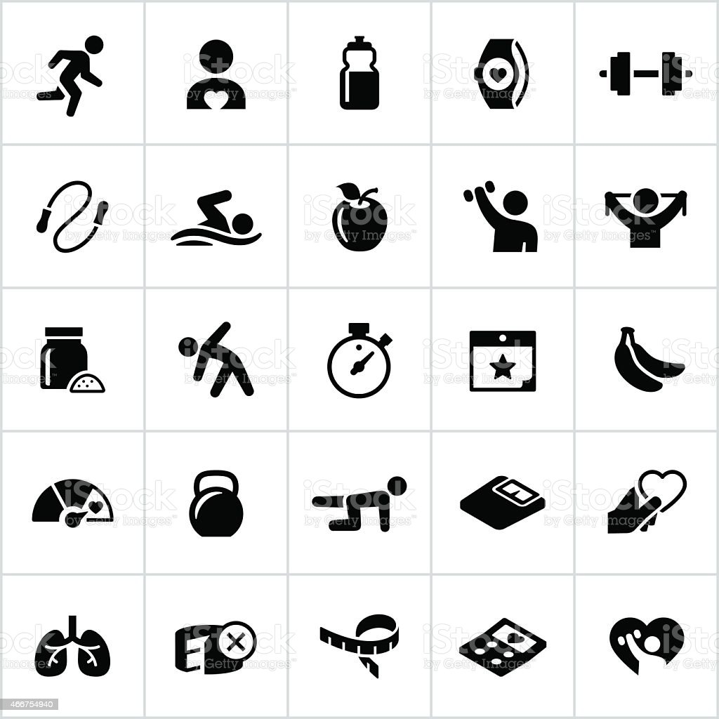 Black Fitness and Exercise Icons vector art illustration