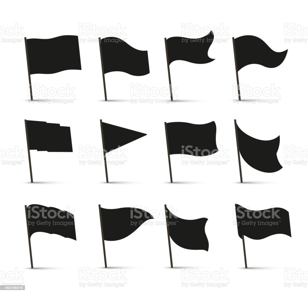 Black flag icons vector art illustration