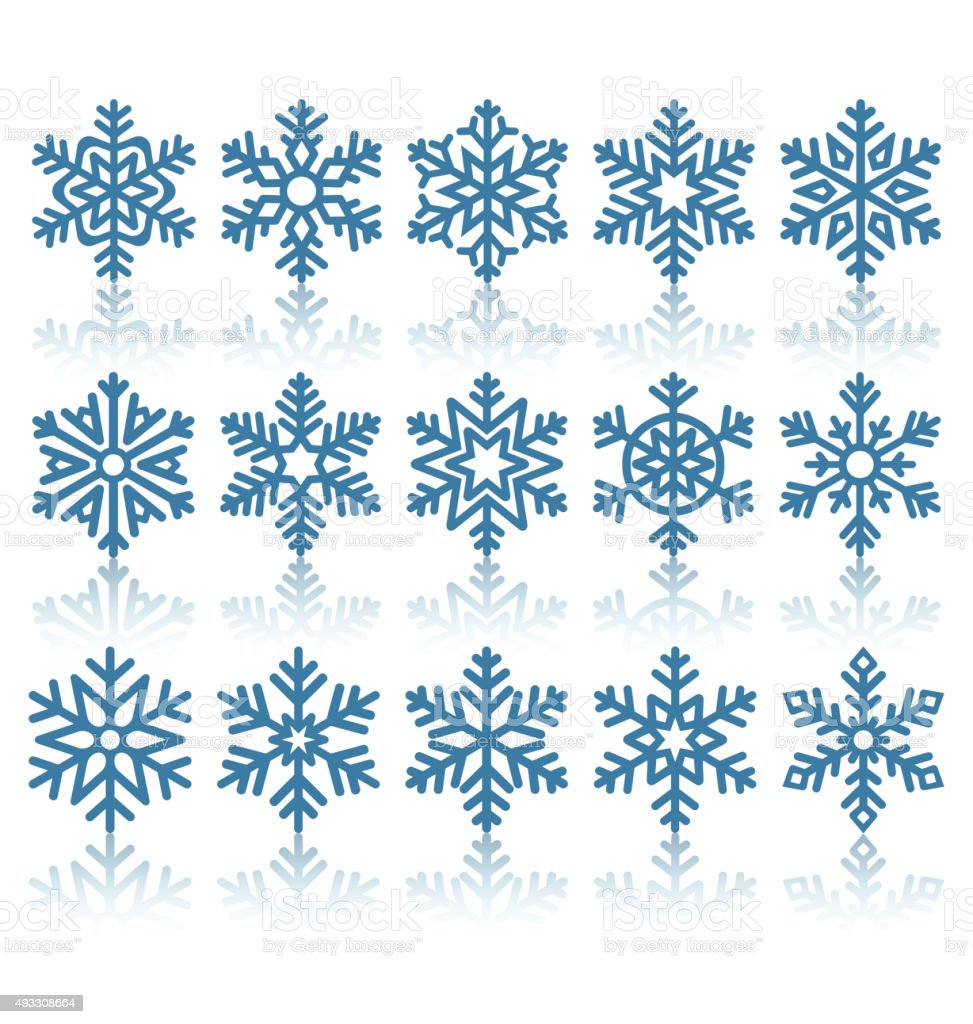 Black Flat Snowflakes Icons with Reflection Isolated on White vector art illustration