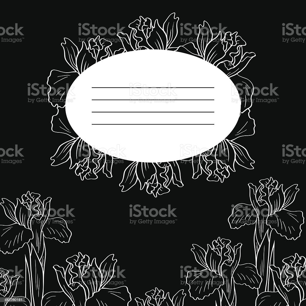 Black floral card, vector illustration royalty-free stock vector art