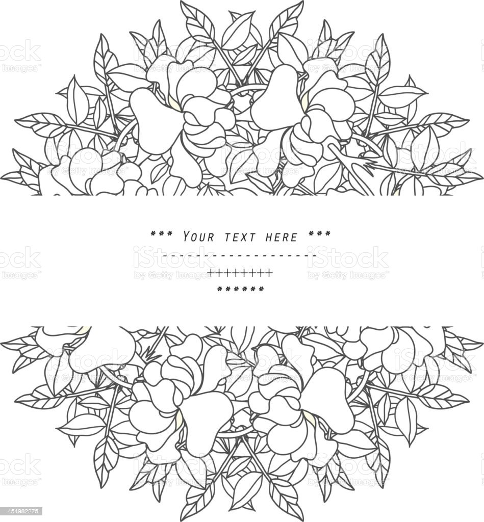 Black floral line art in a circular design royalty-free stock vector art