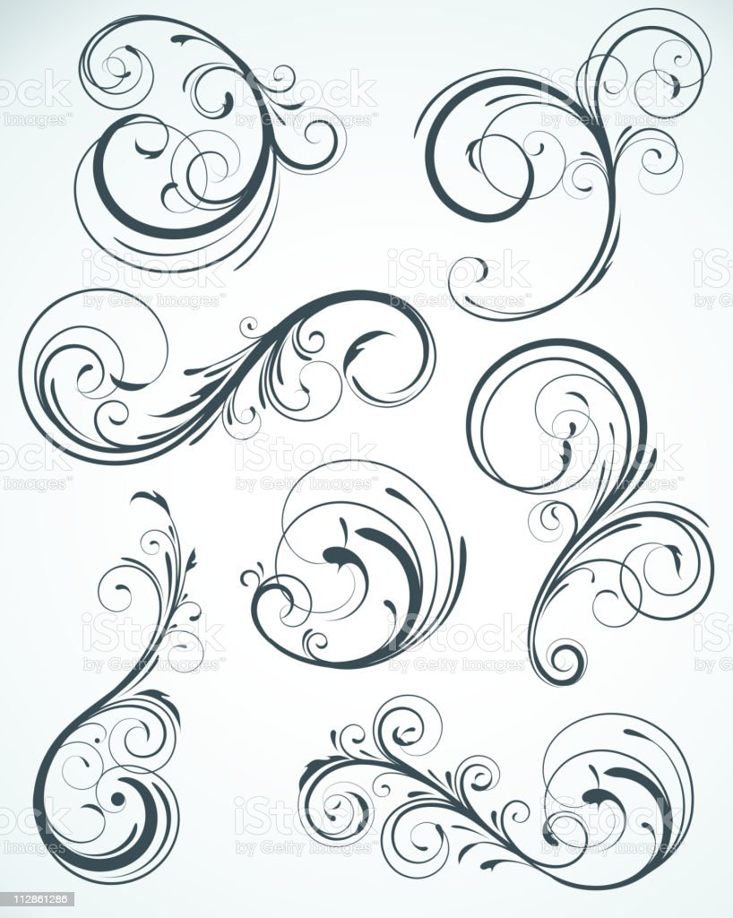 Black floral seamless elements royalty-free stock vector art