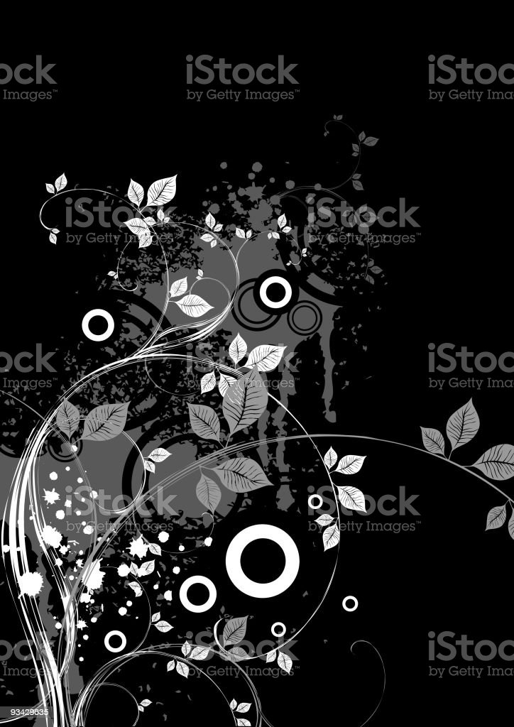 Black Floral X-2 royalty-free stock vector art