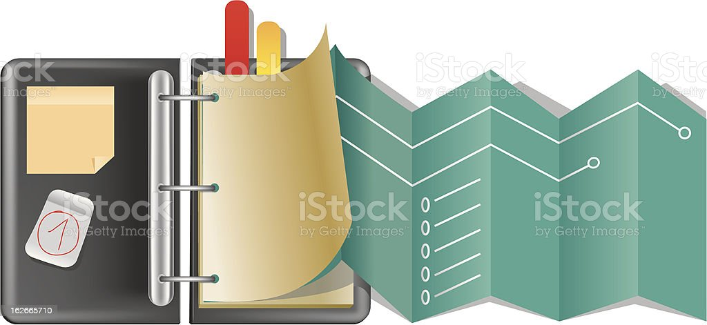 Black folder with colorful bookmarks icon vector art illustration