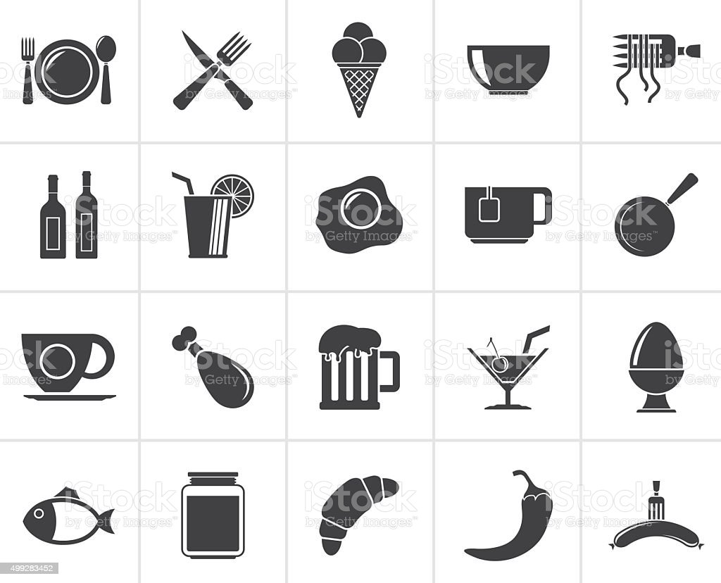 Black Food, drink and restaurant icons vector art illustration