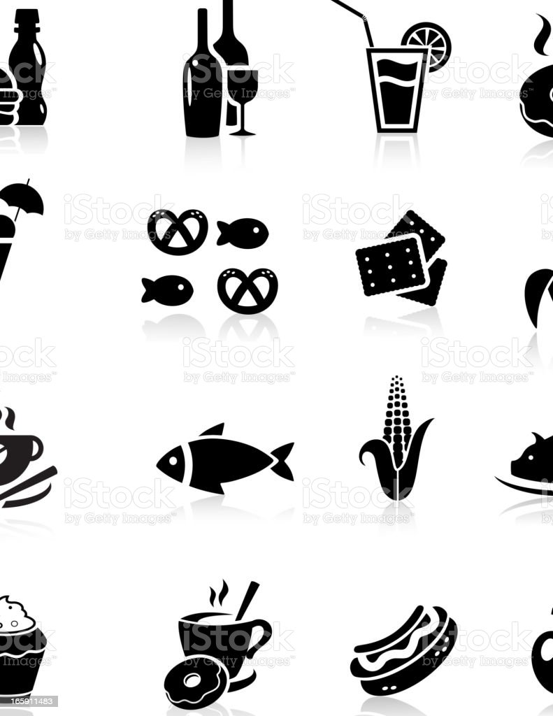 Black Food Icon set royalty-free stock vector art