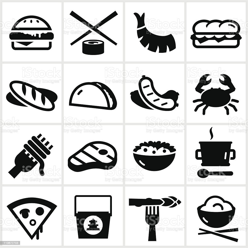 Black Food Type Icons vector art illustration