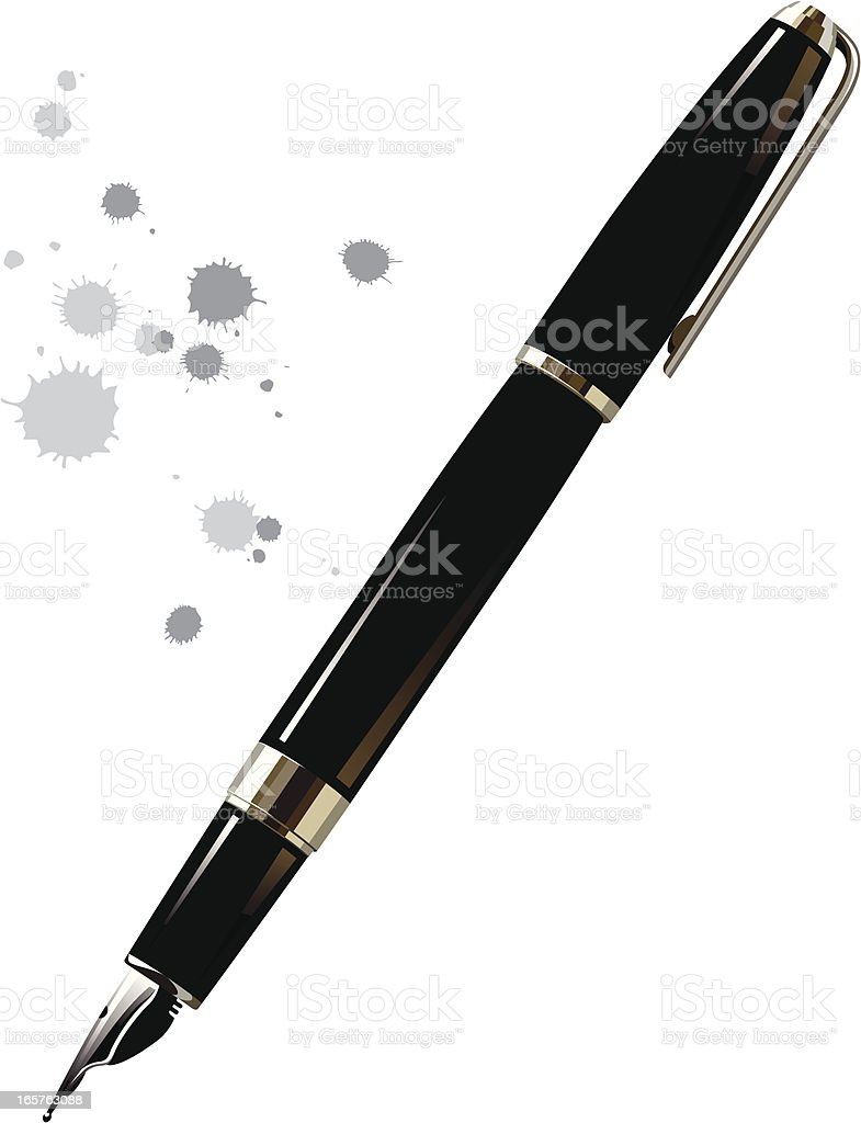 black fountain pen vector art illustration