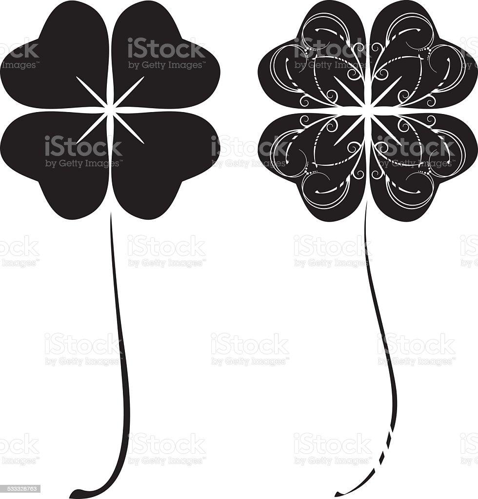 Black four-leaf clovers vector art illustration