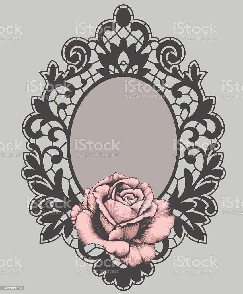 Black frame. Pink Rose. vector art illustration