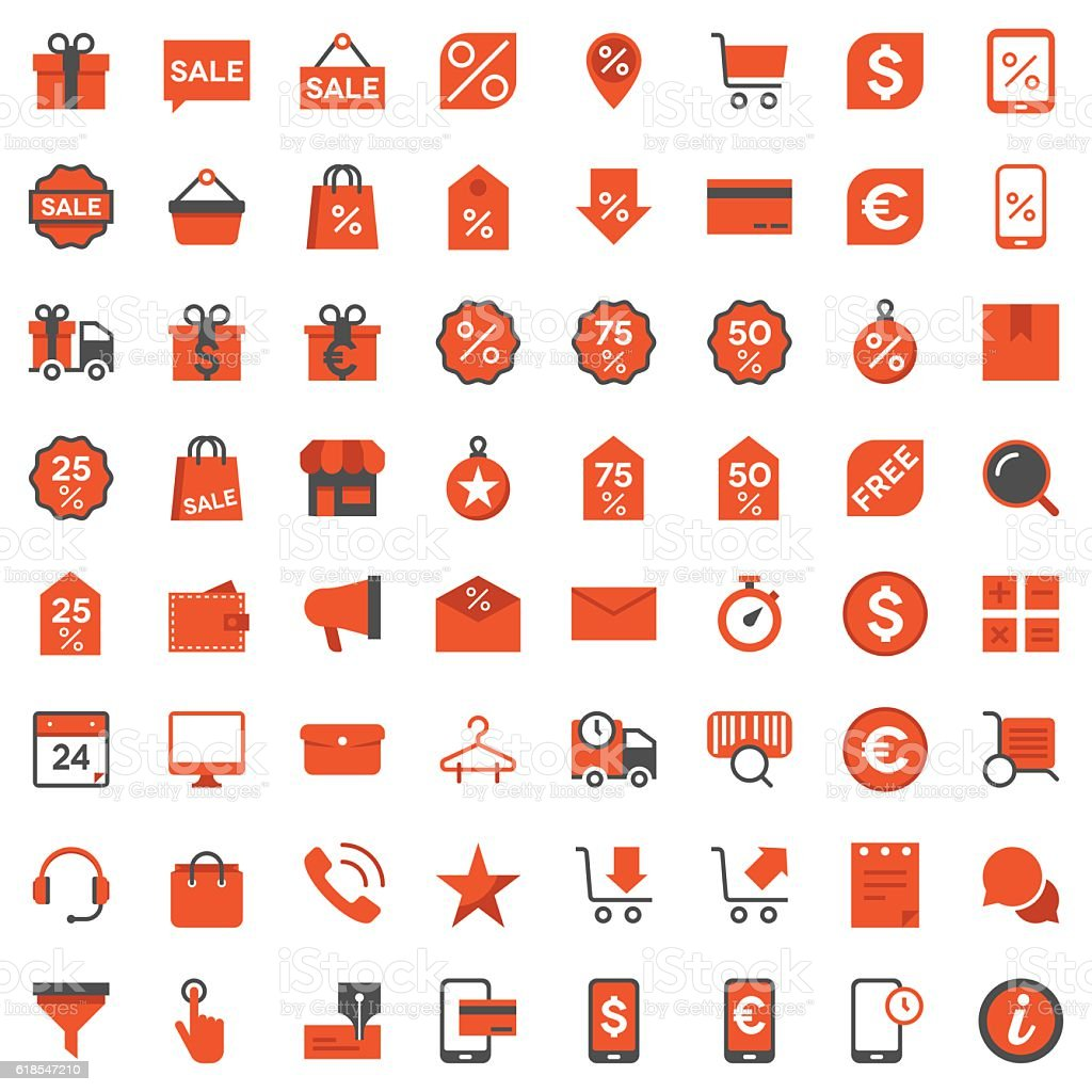 Black Friday and e-Commerce Icons vector art illustration