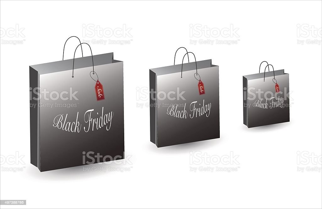Black Friday Bag. Sale and deals. Set of shopping bags royalty-free stock vector art