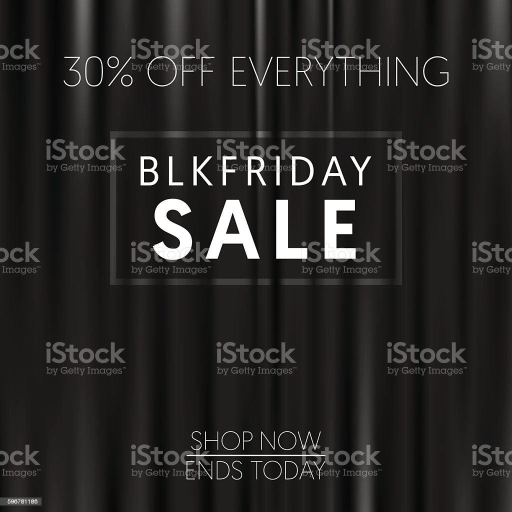 Black friday banner, dark curtains vector art illustration