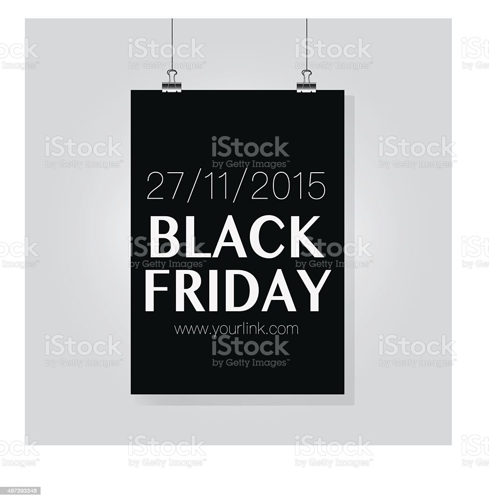 Black Friday hanging Posterd. Sale date. 2015 royalty-free stock vector art