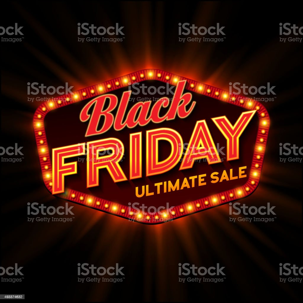 Black Friday retro light frame. Vector illustration vector art illustration