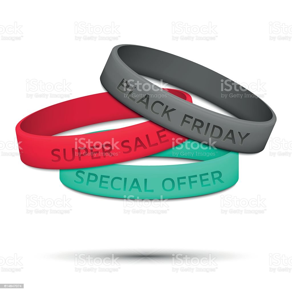 Black Friday rubber wristband. Vector illustration. vector art illustration