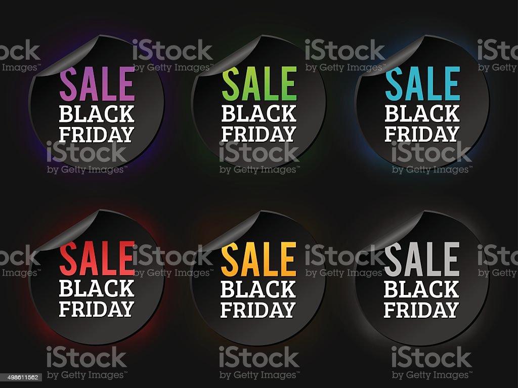 Black Friday sale badges vector art illustration
