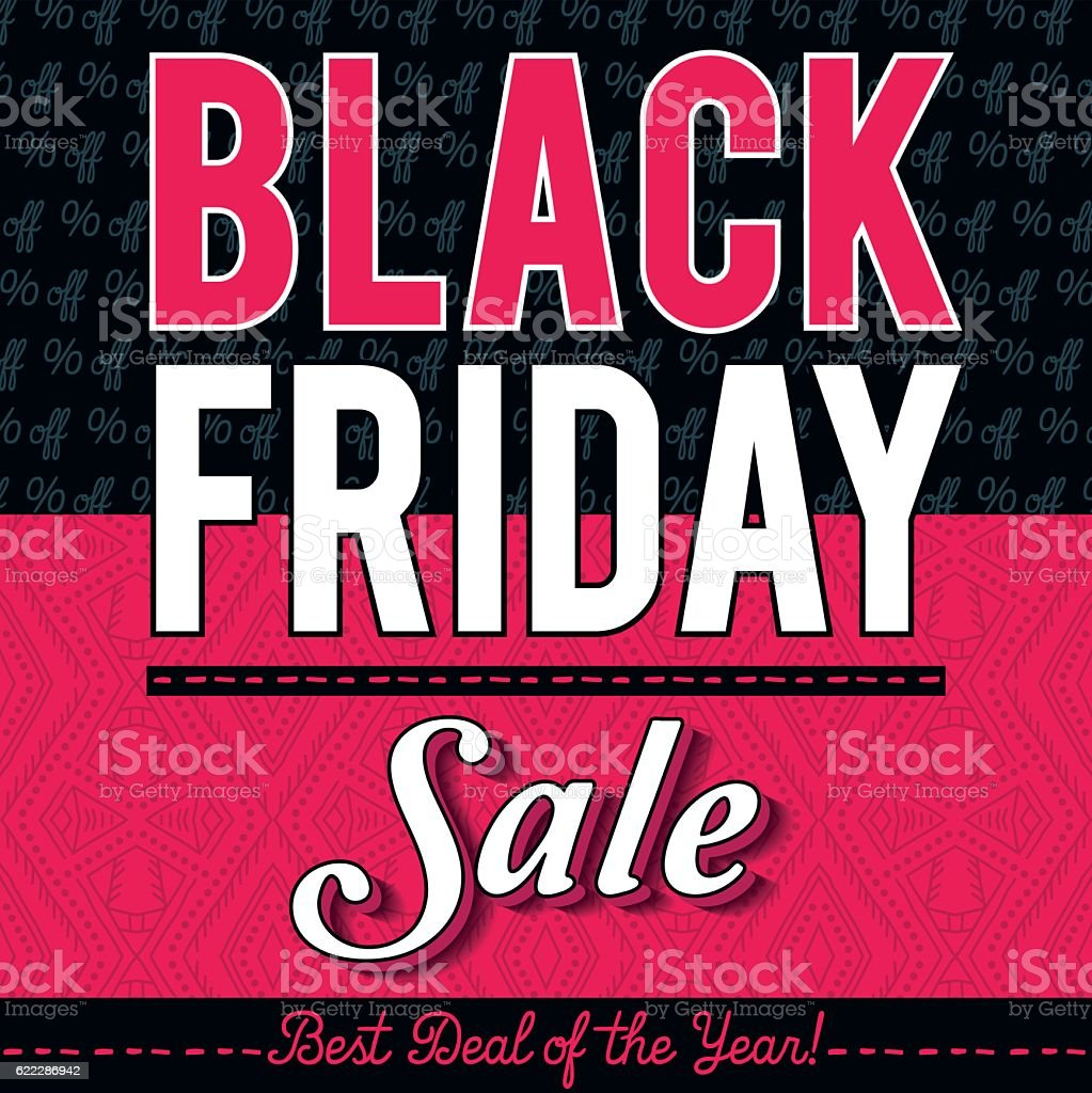 Black friday sale banner on patterned background, vector vector art illustration
