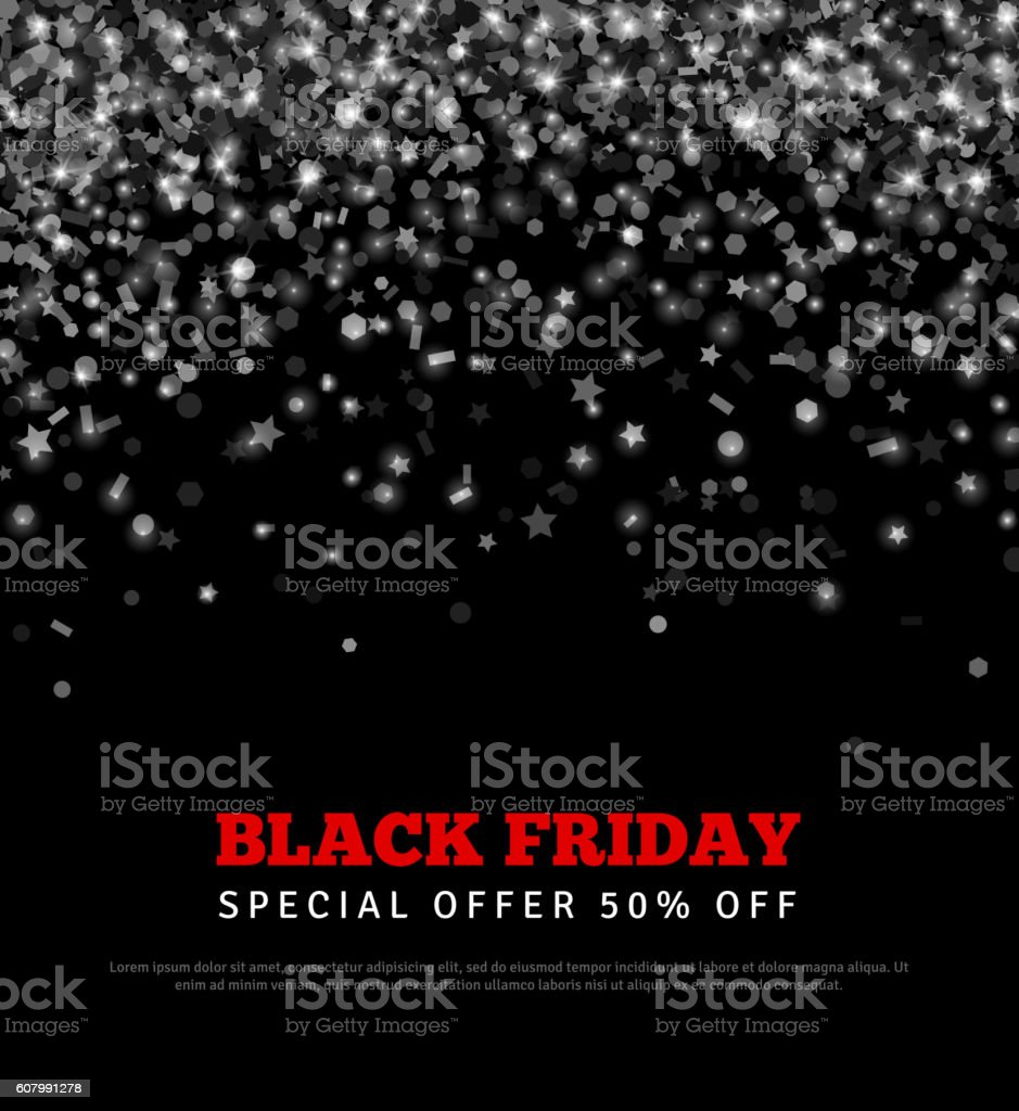 Black Friday Sale Banner with Confetti. vector art illustration