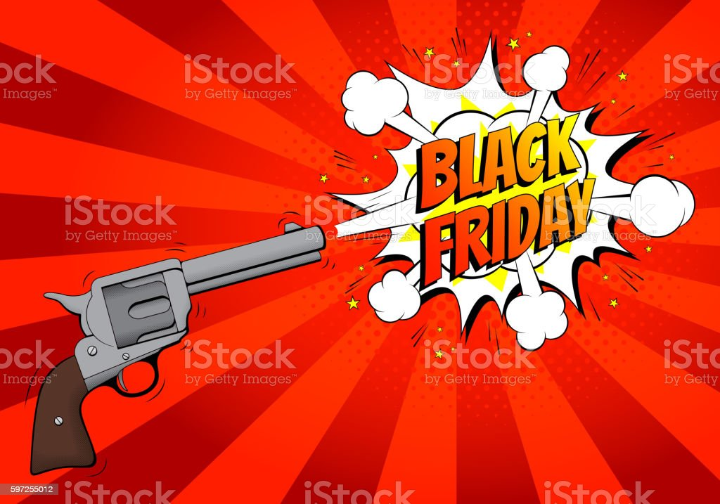Black Friday sale banner with gun royalty-free stock vector art