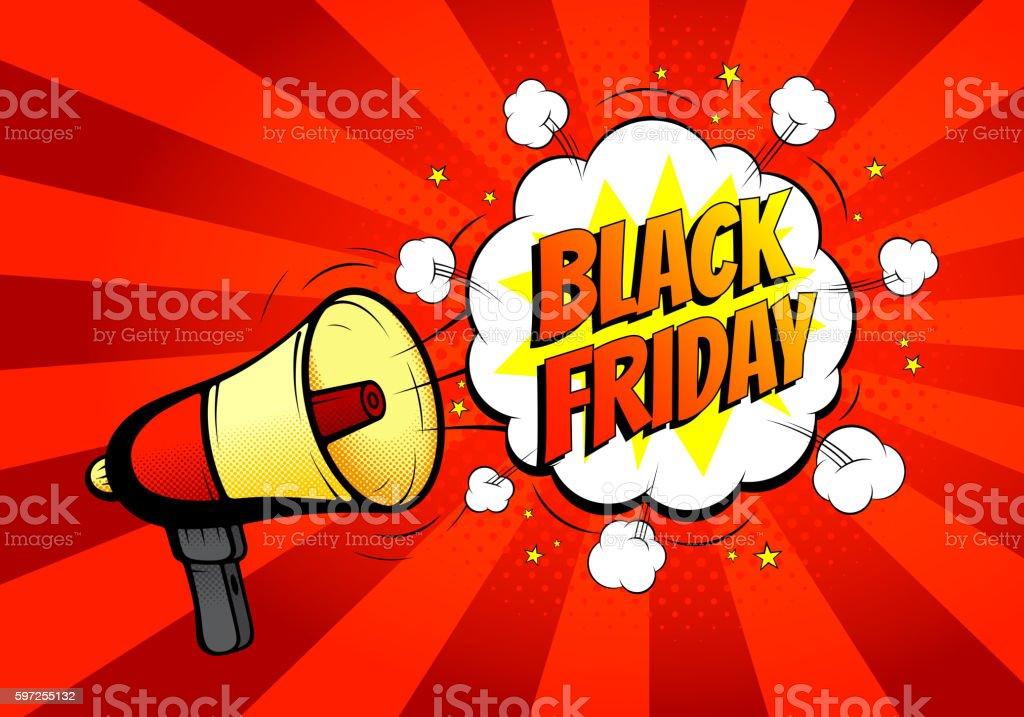 Black Friday sale banner with loudspeaker or megaphone royalty-free stock vector art