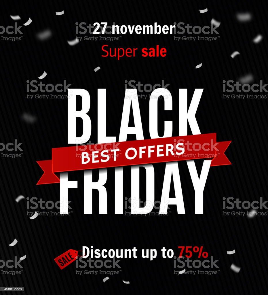 Black friday sale design template. Sale inscription on confetti background vector art illustration