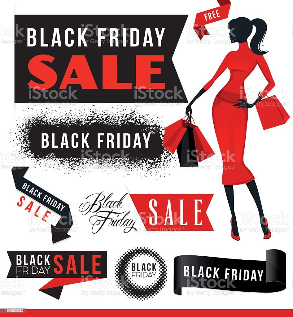 Black Friday Sale Elements with Woman vector art illustration