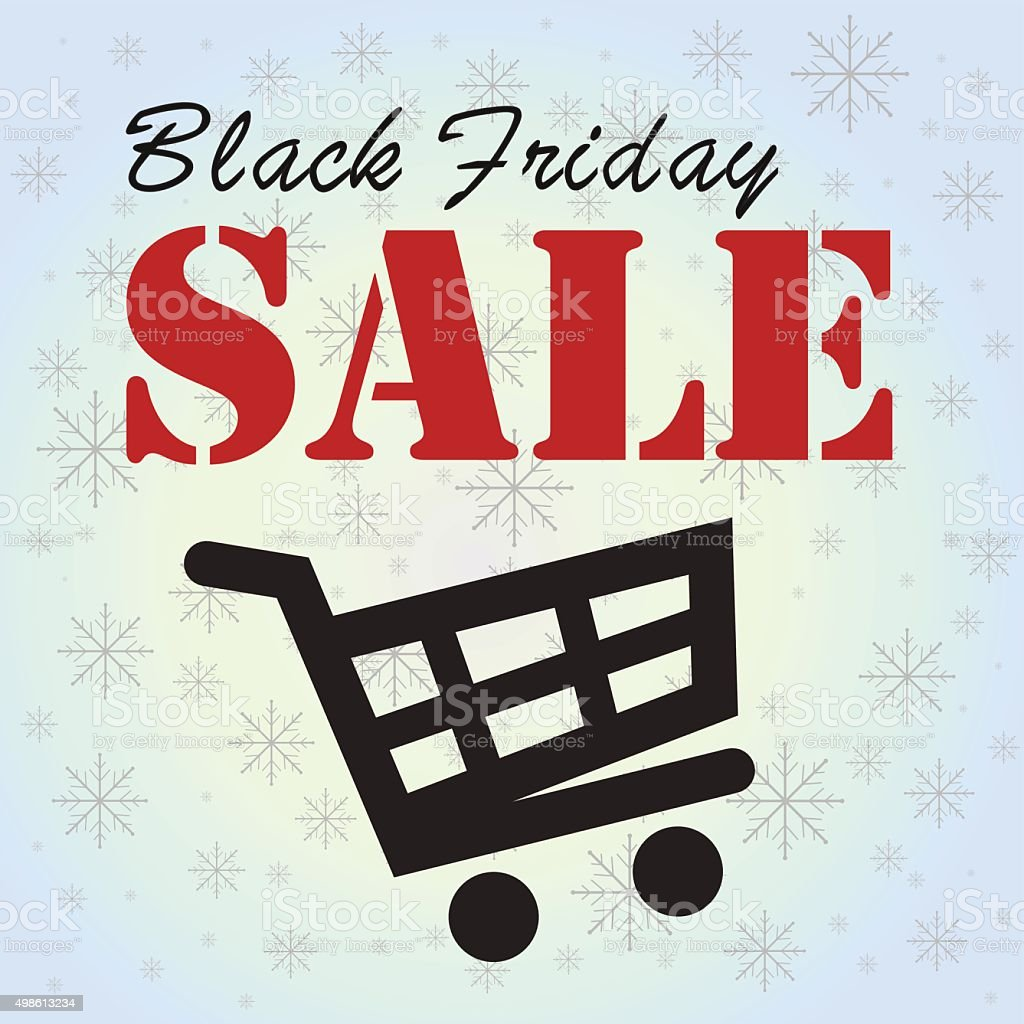 Black Friday sale in the cart royalty-free stock vector art