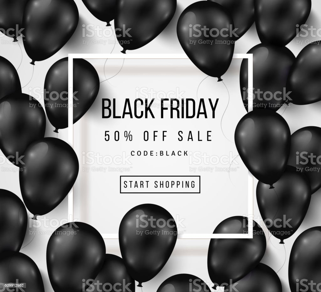 Black Friday Sale Poster with Balloons on White vector art illustration