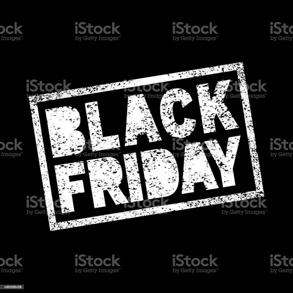 Black Friday sale scribble grunge white stamp on black background. vector art illustration
