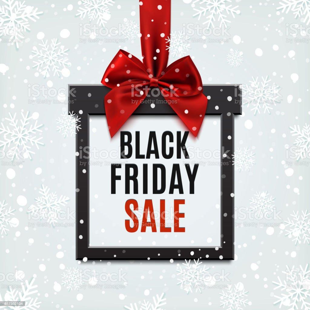 Black Friday sale, square banner in form of Christmas gift. vector art illustration