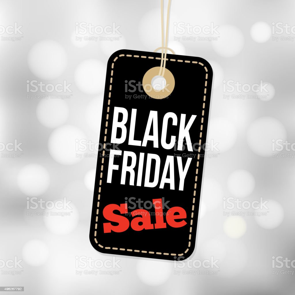Black Friday sale tag, label and blurred background, business vector vector art illustration