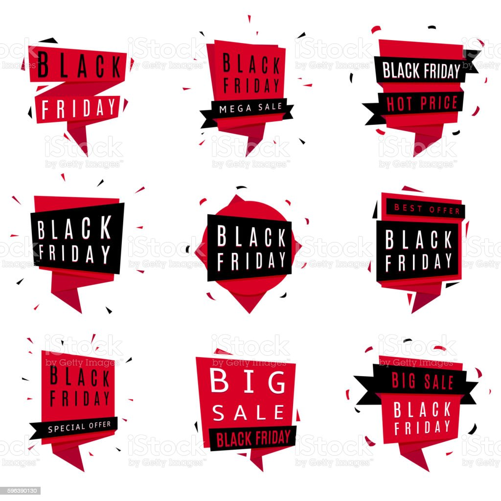 Black Friday sale tags royalty-free stock vector art