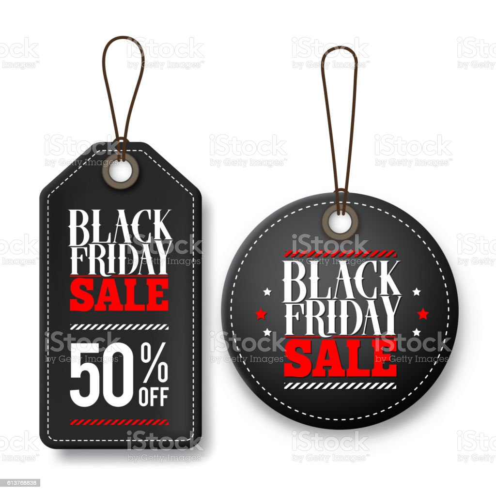 Black friday sale vector price tags for discount promotions vector art illustration