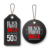 Black friday sale vector price tags for discount promotions