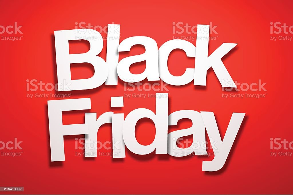 Black Friday Sign with Red Background - Paper Font vector art illustration