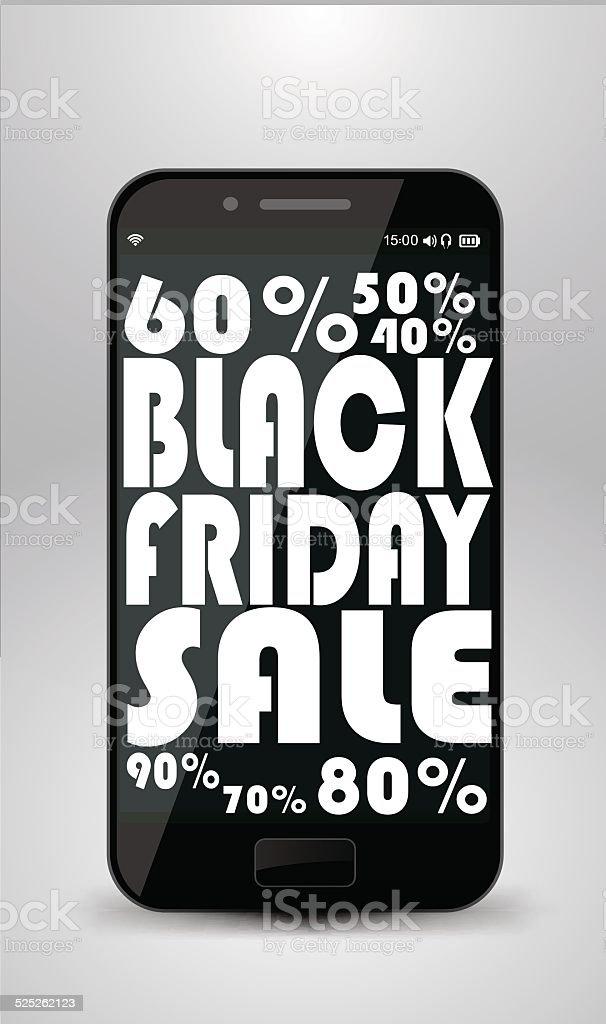 Vendredi noir Smartphone stock vecteur libres de droits libre de droits