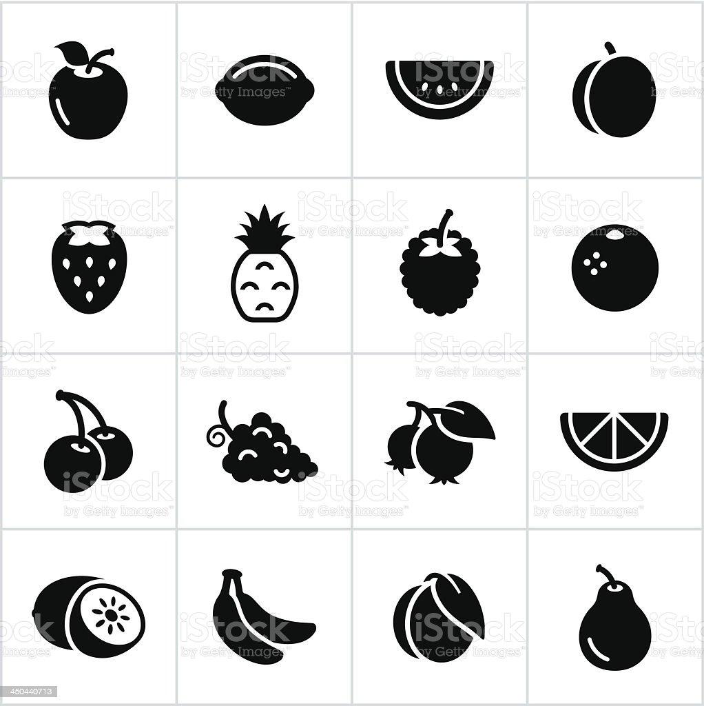 Black Fruit Icons vector art illustration