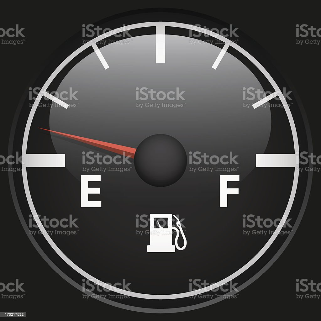 Black fuel gage vector art illustration
