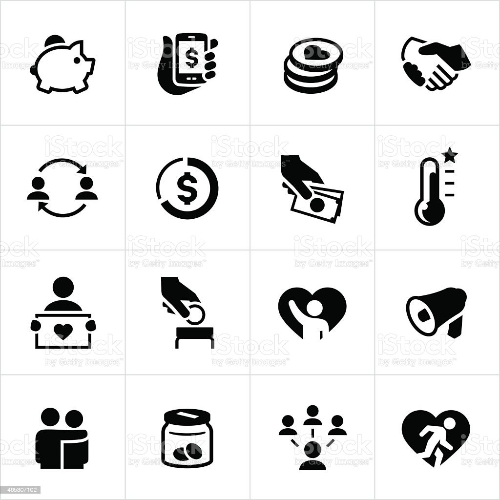 Black Fundraiser And Crowdfunding Icons vector art illustration