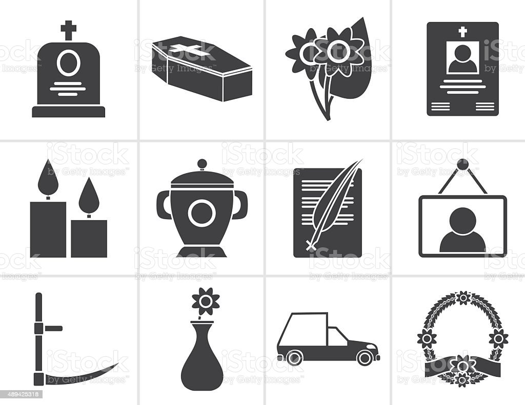 Black funeral and burial icons vector art illustration