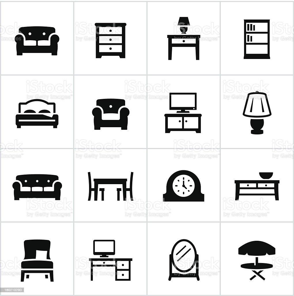 Black Furniture Icons vector art illustration