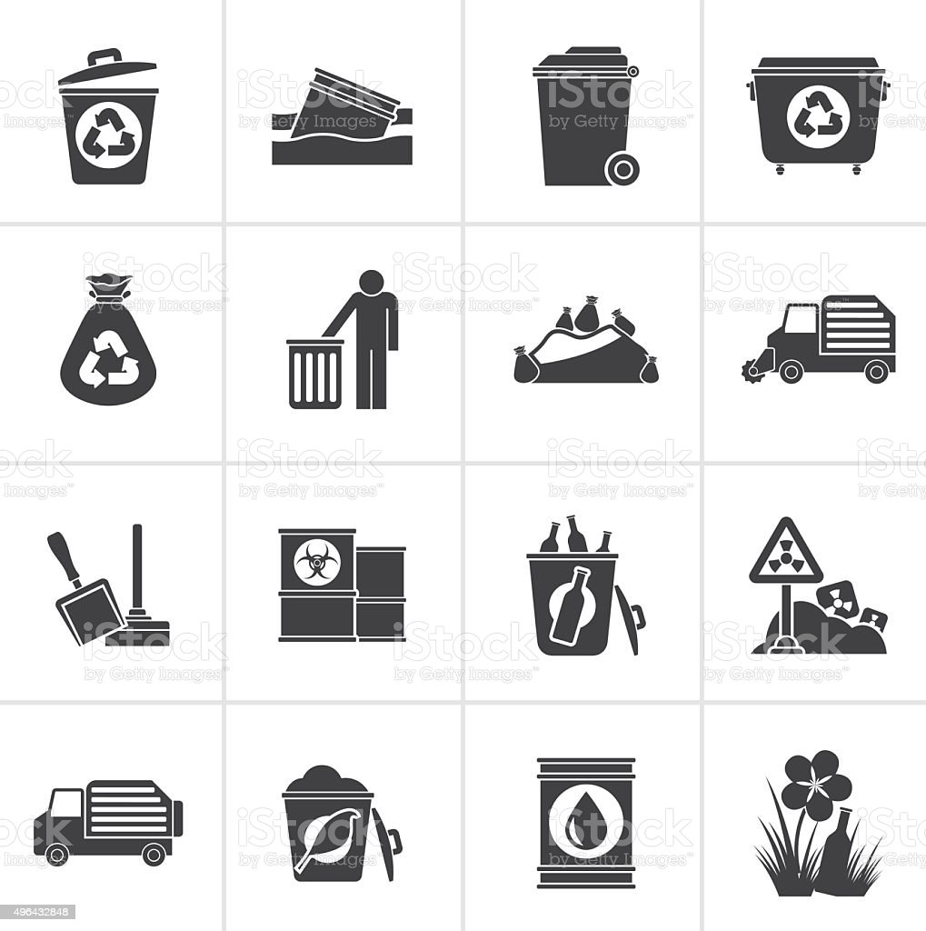 Black Garbage and rubbish icons vector art illustration